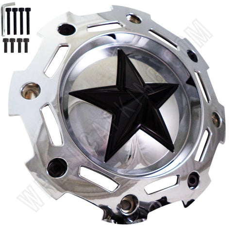 Rockstar / KMC Wheels Chrome / Black Center Custom Wheel Center Cap # SC-190 / S1004-04 / SC-198  (1 CAP)