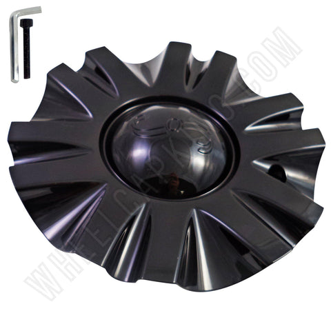 SSC / Sears Gloss Black Custom Wheel Center Cap # MCD8243YA01 / SJ106-19 (4 CAPS)
