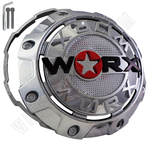 Worx Wheels Chrome Custom Wheel Center Caps # A89-8856L / WRX-8856L (4 CAPS)