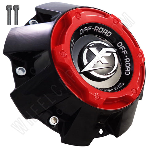 XF Offroad Wheels Flat Blk/Red Top Tall Custom Center Cap # 1444L227H (4 Caps)