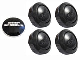 BMF Wheels Gloss Black Custom Wheel Center Cap 5 LUG (4 CAPS) W/1 Set Logos