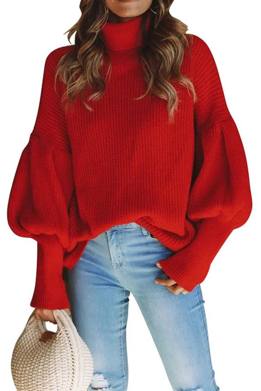 The Amelia Turtleneck Sweater (Black/Red)