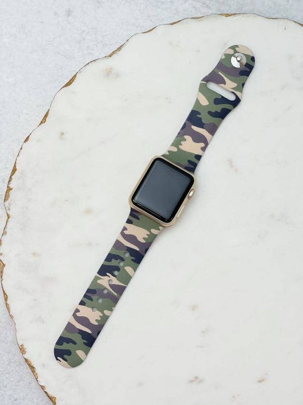 Green Camouflage Printed Silicone Smart Watch Band - S/M