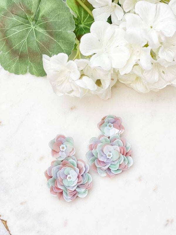 Succulent Flower Dangle Earrings