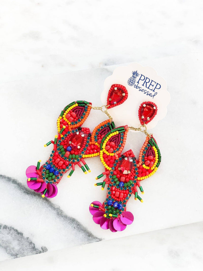 Lobster Beaded & Sequin Statement Earrings