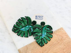 Green Palm Beaded Statement Earrings