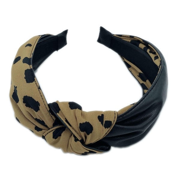 Polka Dot & Leather Headband