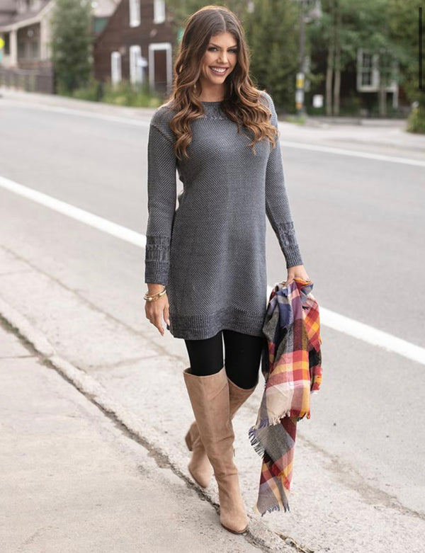Grace & Lace Gray Pointelle Sweater Dress