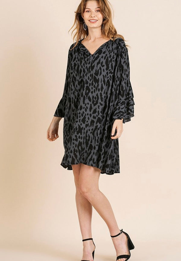 The Life Isn't Black & White Gray Animal Print Swing Dress