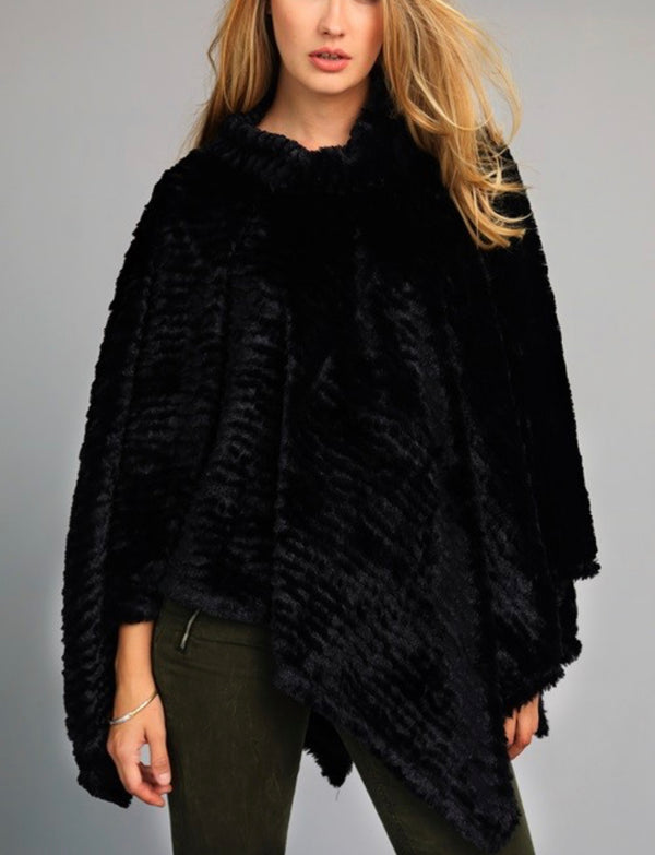 The Out on the Town Black Plush Poncho