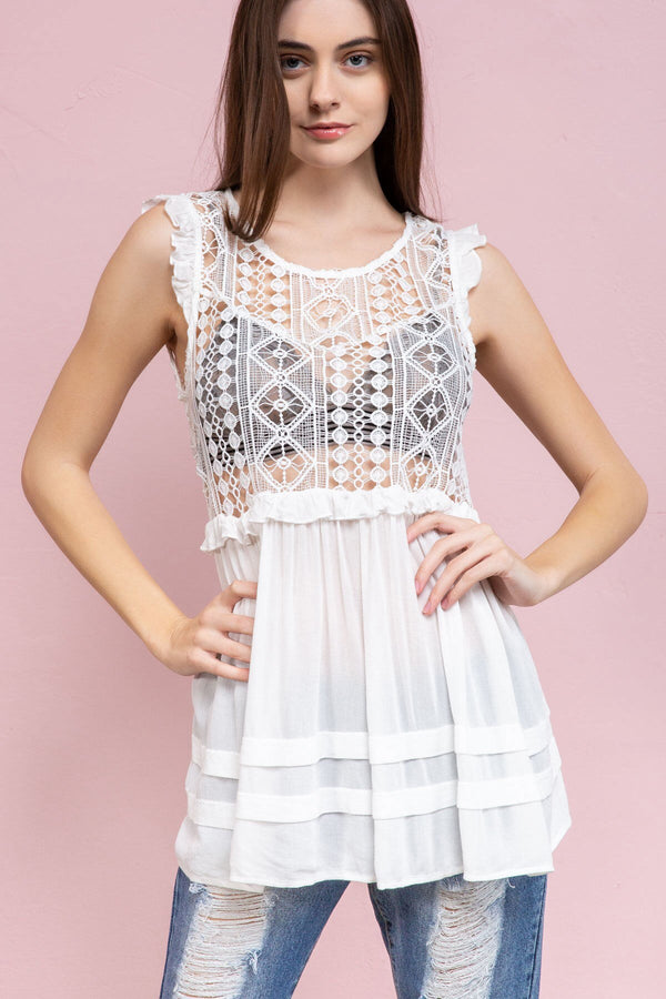 The Desiree Babydoll Tunic in White