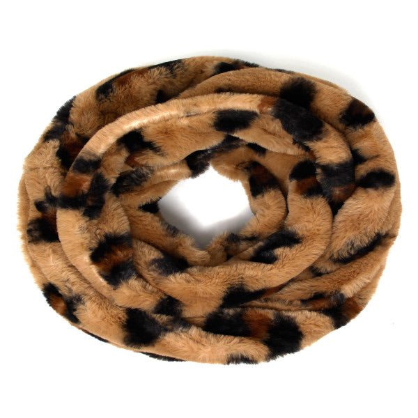 Faux Fur Infinity Scarf - Brown