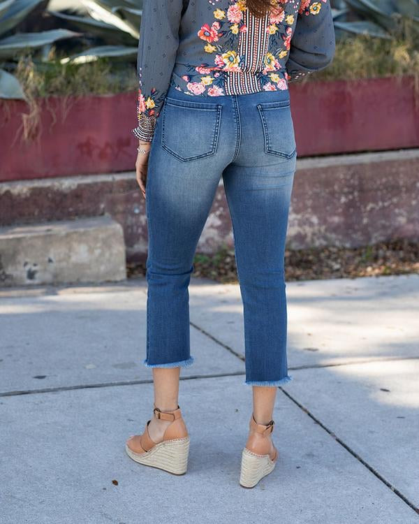 Grace & Lace Cropped Flare Denim Pants
