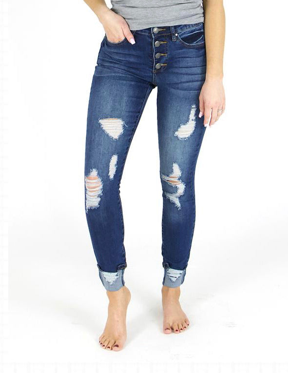 Grace & Lace Button Fly Distressed with Cuff Jeans