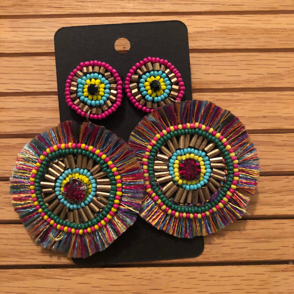 The Beaded Disc Earrings