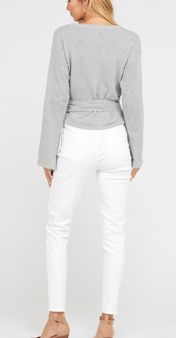 The Santiago Gray Wrap Sweater