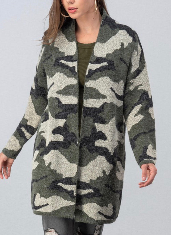 The Camo Love Fuzzy Sweater Cardigan
