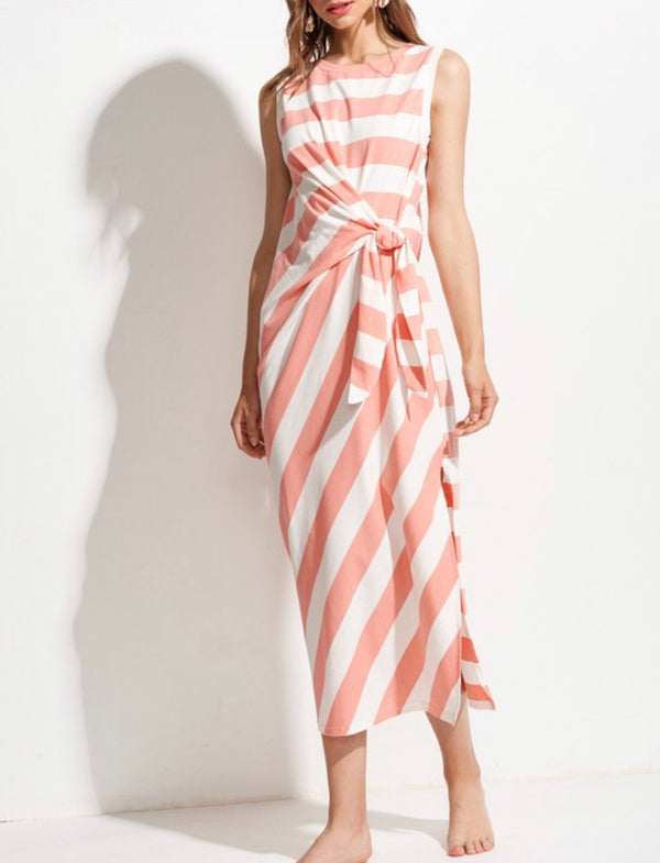The Sadie Coral Striped Dress