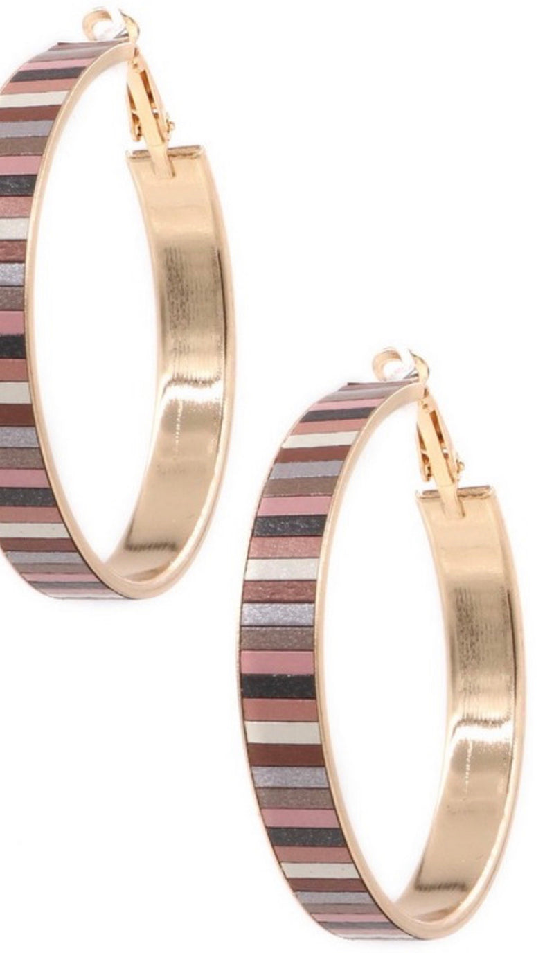 Striped Tile Hoops Earrings