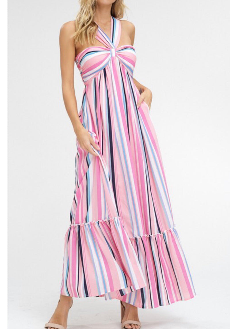 The Christina K Pink Love Halter Dress