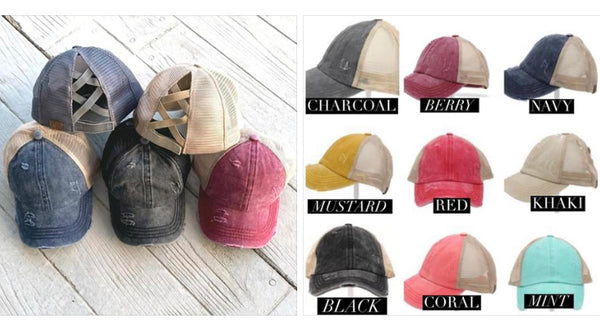 CC Brand Criss-Cross Ponytail Baseball Hats