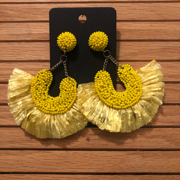 The Beaded Raffia Fan Earrings