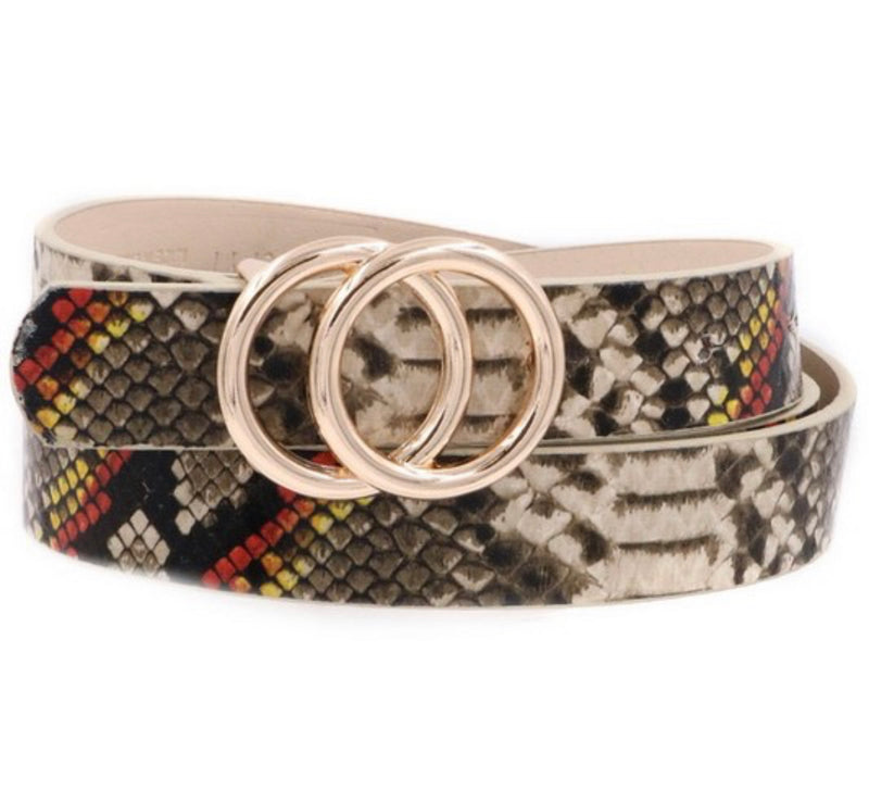 The Inner Circle Multi Color Snake Print Belt