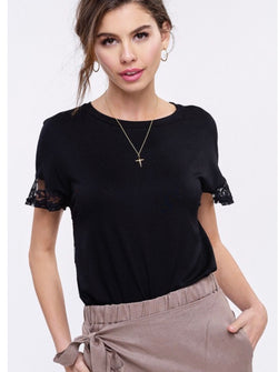 "The ""New"" Little Lace Black Tee"