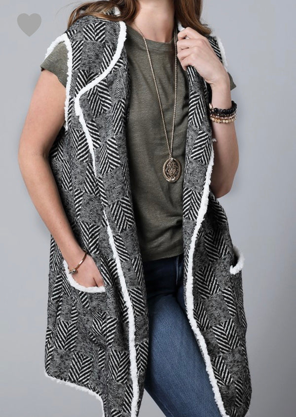 The Herringbone Faux Fur Vest