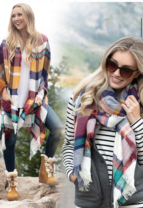 The Pocket Poncho Scarf in One- Multiple Colorways
