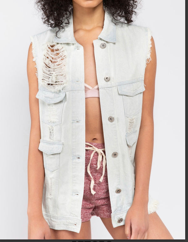 The Grit & Glam Distressed Denim Vest