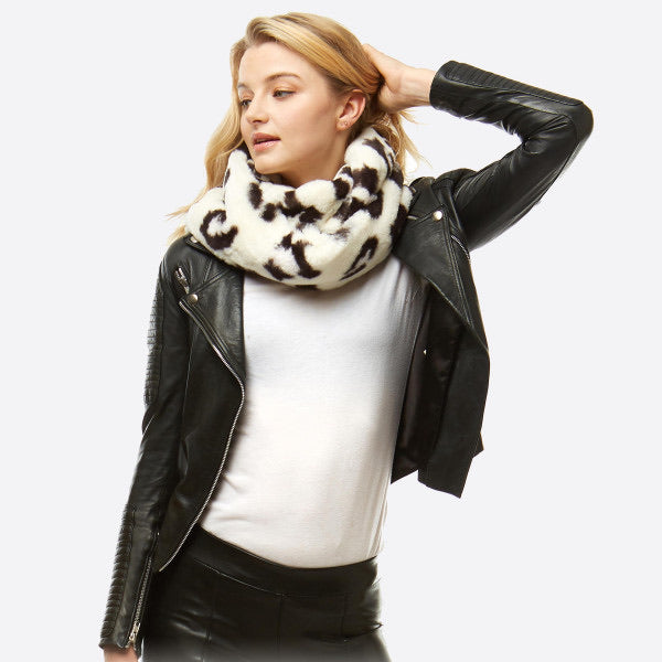 Faux Fur Infinity Scarf- White