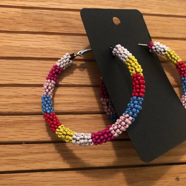 Beaded Rainbow Hoops