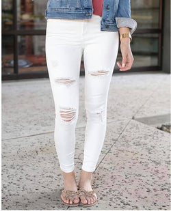 The Laura White Distressed Spring Jeans