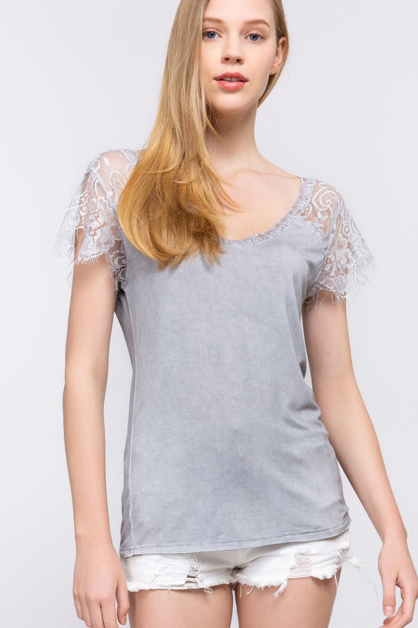 The Mystic Gray Lace Tee