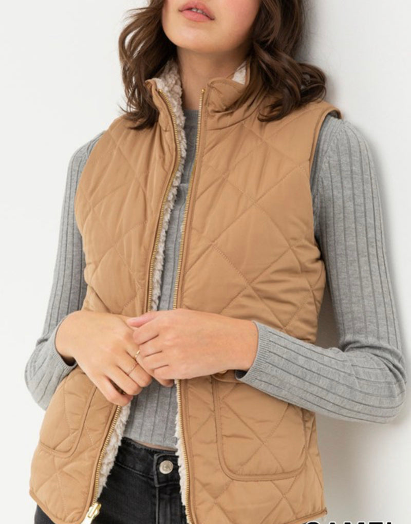 Tan Reversible Sherpa Vest
