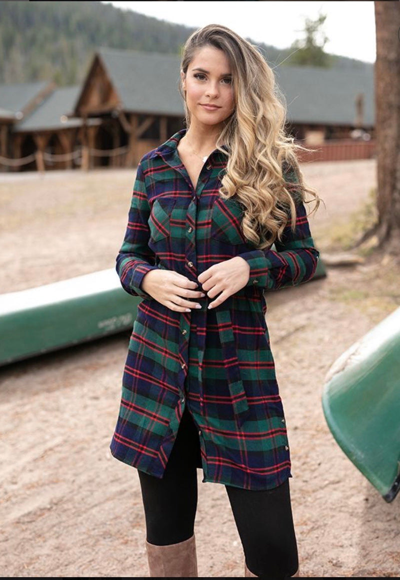 The Winter Hustle Plaid Tunic Dress by Grace & Lace