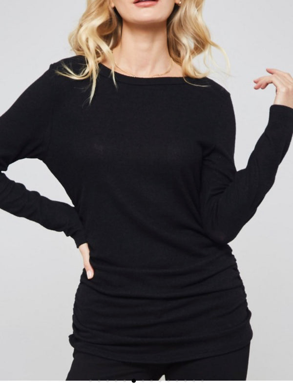 The Emmaline Black Ruched Top