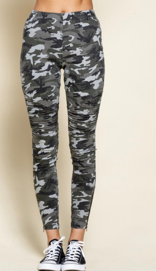 The GI Jane Camo Moto Leggings- Black Camo