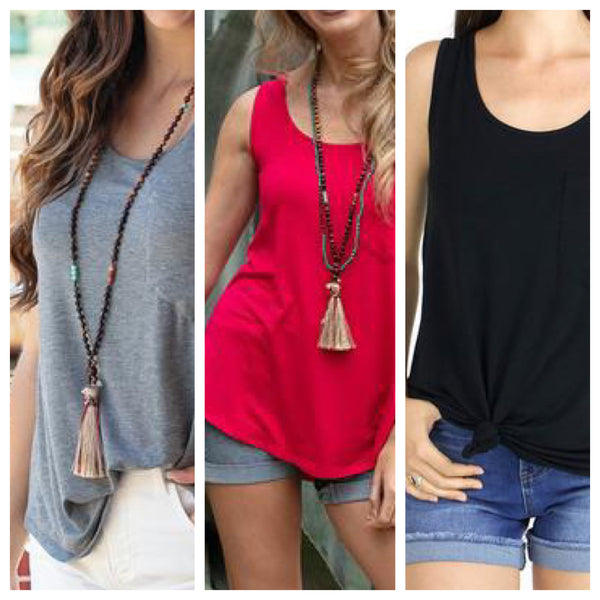 G&L Solid Perfect Pocket Tank Tops