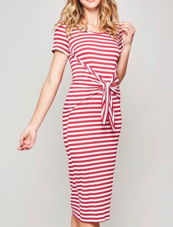 The Red Striped Midi