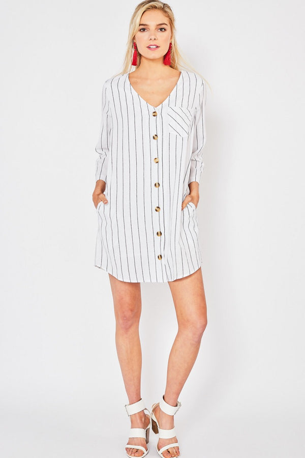 The Maria Striped Shirt Dress