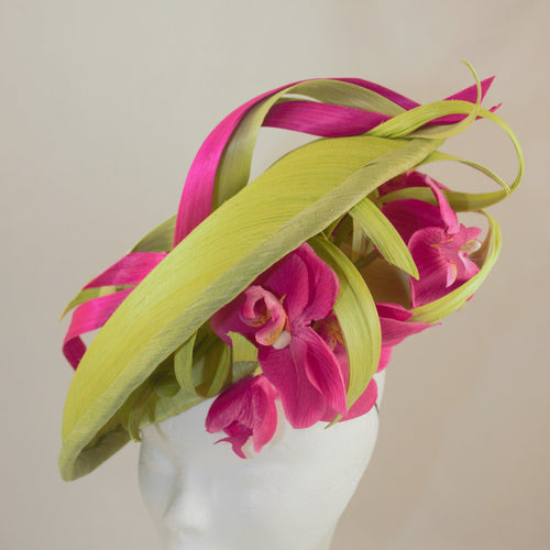 Lime and Cerise Orchid Silk Hat