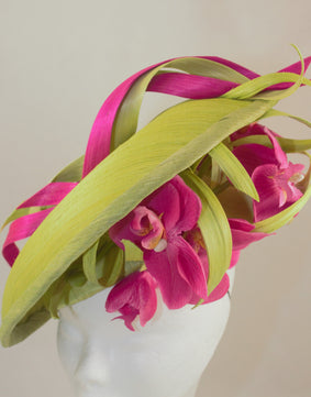 SALE Lime and Cerise Orchid Silk Hat
