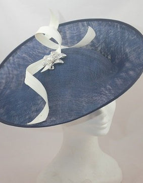 SALE  'Jenny' Angled Hat - Navy and Cream