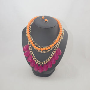Sale Cerise and Orange on Gold Necklace Set