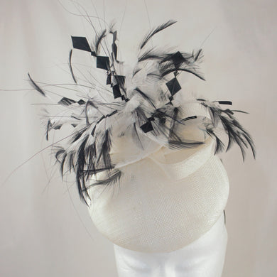 Sale White and Black Button Headpiece