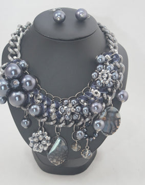 "Sale Jenny - Beaded Neckpiece (20"") with Earrings"