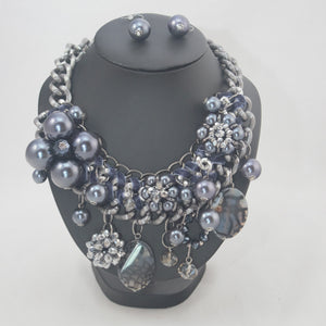 "Jenny - Beaded Neckpiece (20"") with Earrings"