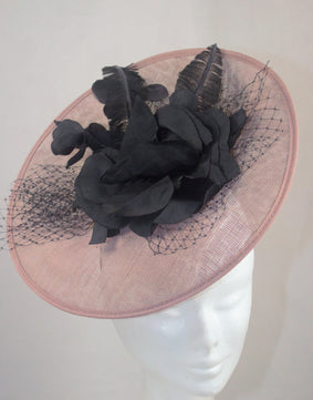 Sale  Nude Pink and Black Disc Hat